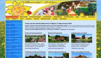 Eigene Internet Portale - Touristik Tourismus Ferien Urlaub Freizeit - Erlebnisbauernhof Bayern Bayerischer Wald